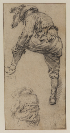 Two studies of a man adjusting his hose