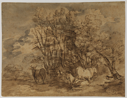 Wooded landscape with cows
