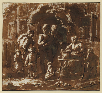 Figures outside an inn