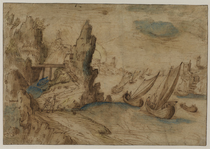 Imaginary coastal scene with fishing vessels