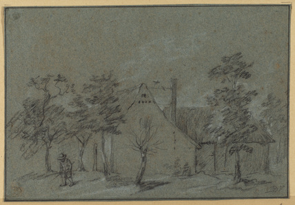 Landscape with cottage and trees (recto)