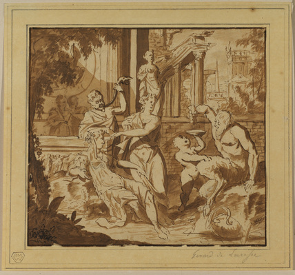 Satyr and women reclining