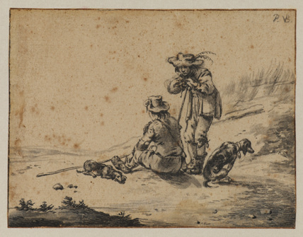 Two men and dogs in a landscape