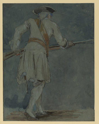 Back view of a fusilier advancing with his rifle (recto)