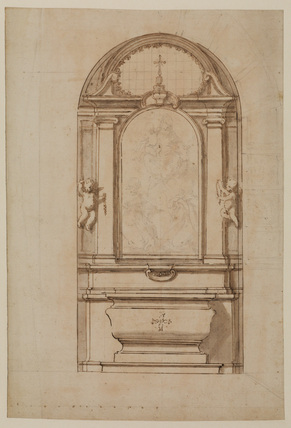 Design for an altar incorporating a painting of the Virgin and Child and female saints