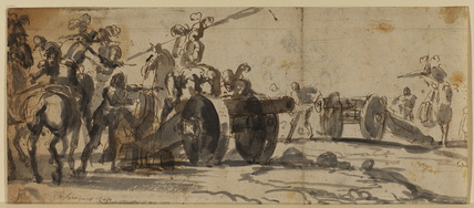Soldiers with two cannons (recto)