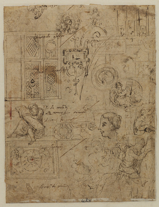 Architectural and figure studies (verso)