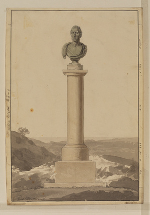 Design for a monument - column surmounted by a bust