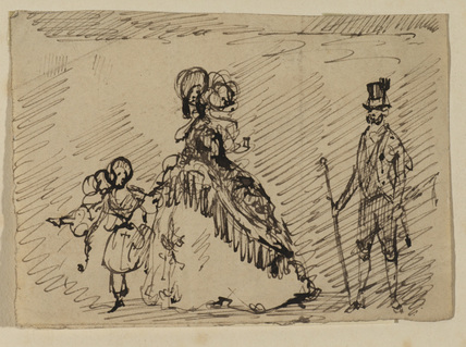 Woman with a small girl, and man with walking cane