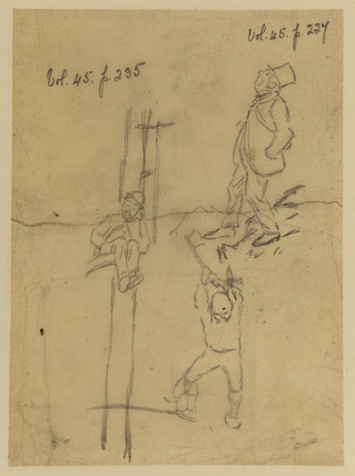 Studies of three men - connected with illustration for Punch