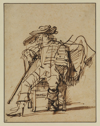 Study of a seated actor (recto)