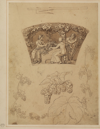 Hop-pickers - study for a decorative panel