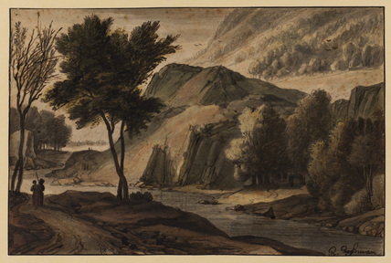 Rocky landscape with figures on a road