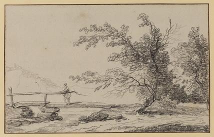 Landscape with woman on a footbridge