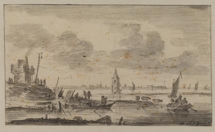 Dutch estuary or flood scene