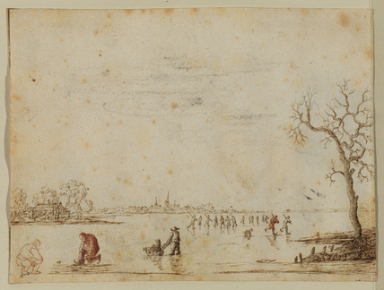 Winter landscape with skaters (recto)