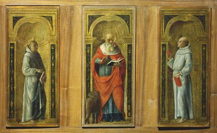 Three panels - a. Saint Francis; b. Saint Jerome; c. Saint Anthony of Padua