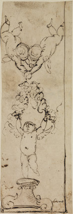 Design for an upright decorative panel with three angels holding