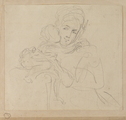 Sketch for a portrait of a mother with her child