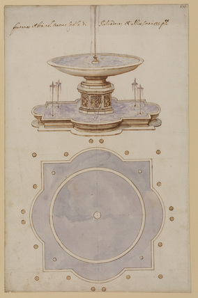Perspective drawing and plan of the fountain in the Cortile del Belvedere