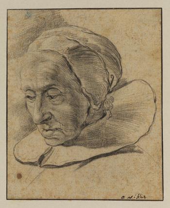 Head of an elderly woman (recto)