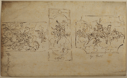 Design for three ceiling panels - Dining Room, Hanbury Hall, Worcestershire
