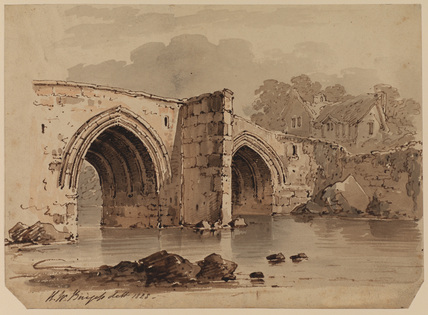 Two-arched bridge crossing a river