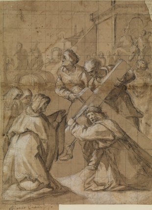Christ carrying the Cross, with Saint Veronica (recto)