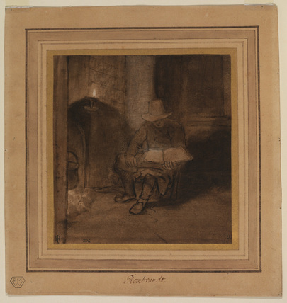 Interior, with a man seated by a fire, reading by lamplight