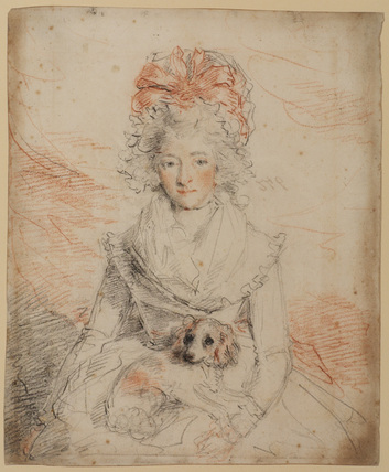 Knee length view of a lady with dog on lap