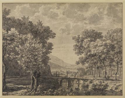 River landscape - small bridge over river in centre