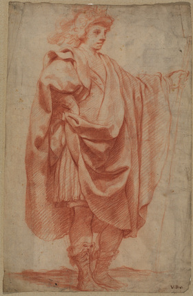 Standing figure of a draped man