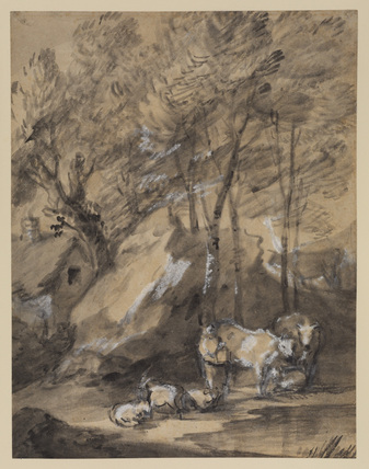 Wooded landscape with figures, cattle and cottage