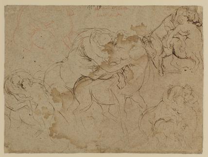 Studies of male figures & female centaurs (verso)