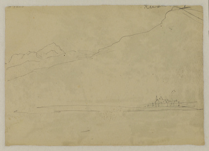 Sketch of a mountain landscape (verso)