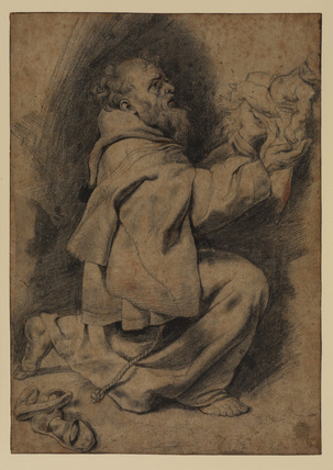 Saint Francis kneeling, receiving the Infant Christ