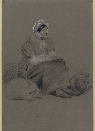 Woman seated by the roadside