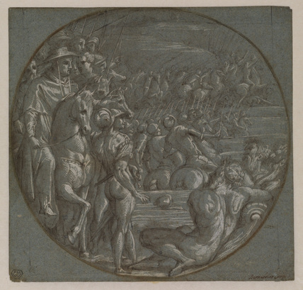 Battle scene - troops crossing the Adda (design for the central panel of the ceiling decoration of the Sala di Giovanni delle Bande Nere, Palazzo Vecchio, Florence)