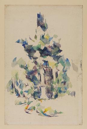 Statue under trees (Route forestière avec une statue)
