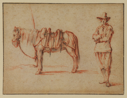 Tethered horse, and man standing by with arms folded (recto)