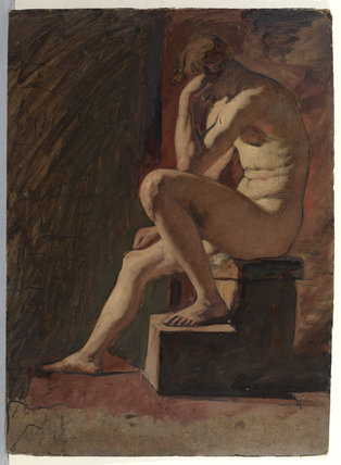 Seated male nude, head resting against hand, left foot resting on block (recto)