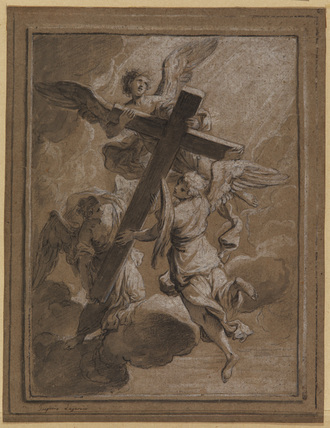 Three angels carrying a cross
