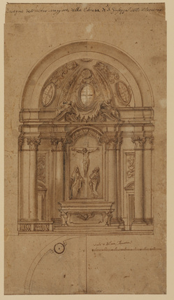 Elevation for high altar of San Giuseppe, Florence, with unfinished half of plan