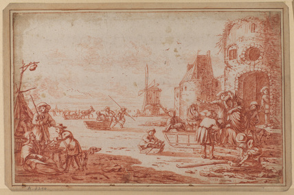 Ice scene with skaters and figures in sleighs