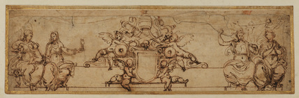 Decorative design - blank papal coat of arms flanked by putti