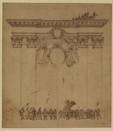 Papal procession in Rome possibly depicted in front of Saint Peter's
