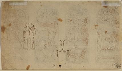 Four decorative panels (verso)