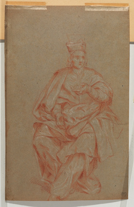 Seated ecclesisastic facing front (verso)