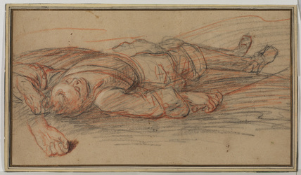 Study for a warrior lying on the battlefield, and an additional study of the left hand