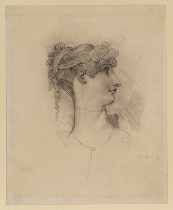 Head of a lady with an elaborate coiffeur